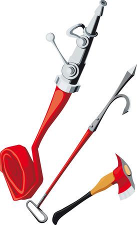 voiture de pompiers: �quipements anti-incendie comprenant une gaffe, tuyau d'incendie, hache d'incendie Illustration