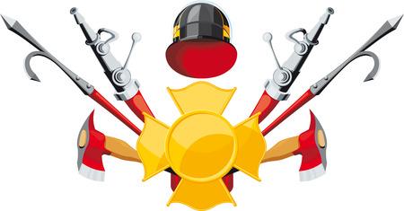 equipos trabajo: emblema de los bomberos. Badge, manguera, gancho y el hacha