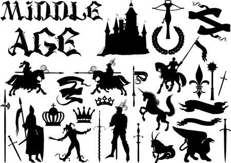cavaliere medievale: sagome e icone sul tema medievale. In bianco e nero isolato su bianco Vettoriali