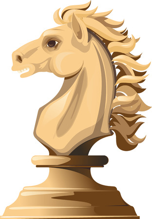 cavalry: Light chess horse with a flowing mane isolated on white