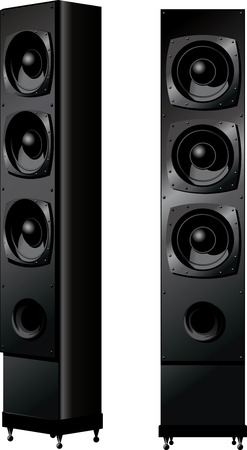 surround: two Vertical musical dynamics front view and a side view isolated on white Illustration