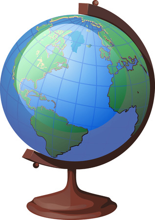 school globe on a stand America turned to the viewer Stock Vector - 24054694