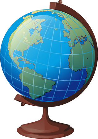school globe on a stand turned to the viewer the American continent