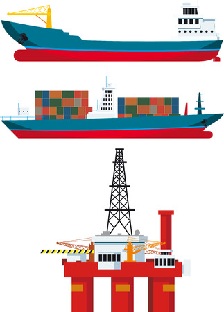 front loading: cargo ships and oil platform and isolated on white background