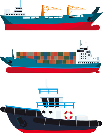 cargo Vessels and tugboat isolated on white background Illustration