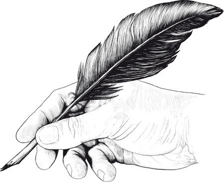 mano anziano: Disegno vintage di mano con una penna a piuma di stile di un'incisione