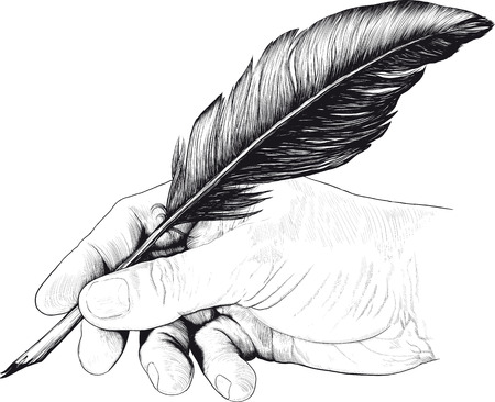 Vintage drawing of hand with a feather pen in style of an engraving Ilustração