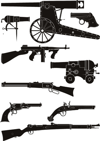 Set of silhouettes of classic firearms of different historical periods