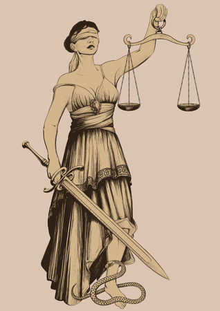 Symbol of justice Femida blindfolded weights at arm length and sharp sword Vector