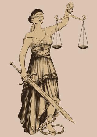 vintage lady: Symbool van rechtvaardigheid Femida geblinddoekt gewichten op armlengte en scherp zwaard