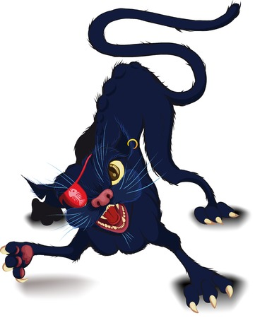 strut: Fight cat in a defensive position which raised a paw to strike Illustration