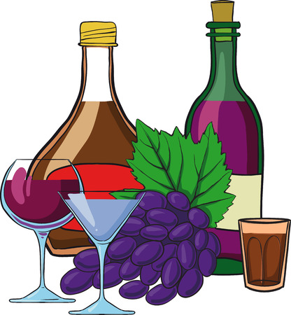 Still Life with bottles of wine glasses and grapes Vector