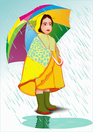 Little girl under umbrella in raincoat standing in the rain Vector