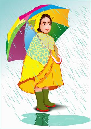 Little girl under umbrella in raincoat standing in the rain Vector