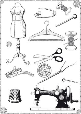 accessoire: grand ensemble d'accessoires pour la couture, vendange, gravure tir�e comme