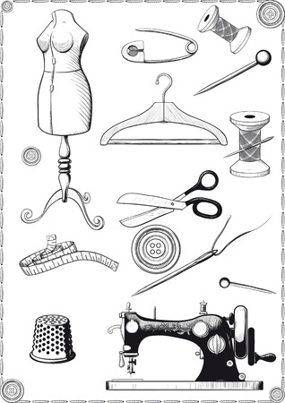 large set of accessories for sewing vintage engraving drawn as Stock Illustratie