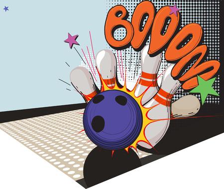 コミック スタイルのボウリングのボールやボウリングのピンで作られたビンテージの画像