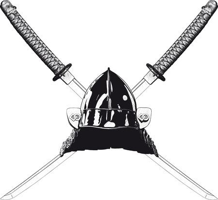 Japanese ancient battle helmet and two crossed katanas