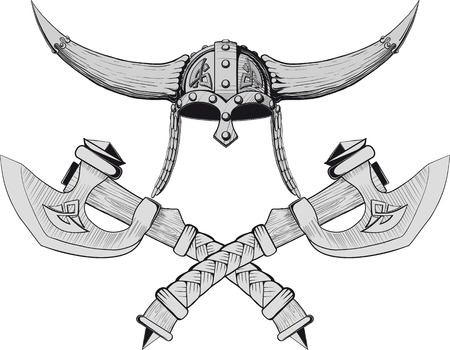 nordic: Viking horned helmet emblem with two crossed axes