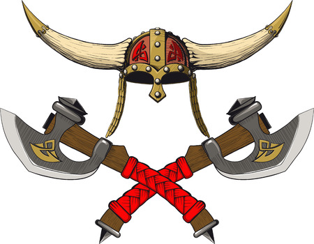 Viking horned helmet emblem with two crossed axes Vector