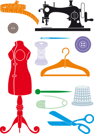 Big set of sewing accessories. Simple shapes to cut or icons Vector