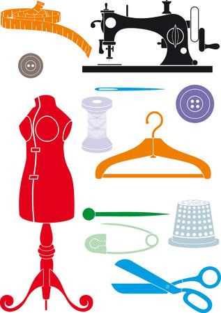 kit de costura: Gran conjunto de accesorios de costura. Formas simples para reducir o iconos