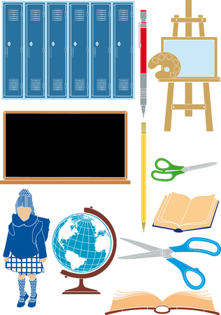 simplified set of colorful school supplies and accessories Vector