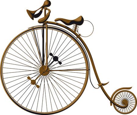 bicicleta retro: Grungy bicicleta pasada de moda con una rueda delantera grande
