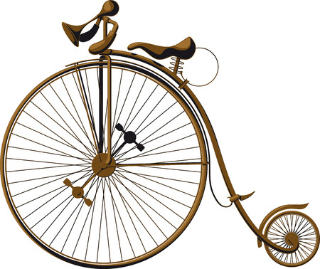 Grungy old fashioned bicycle with a large front wheel