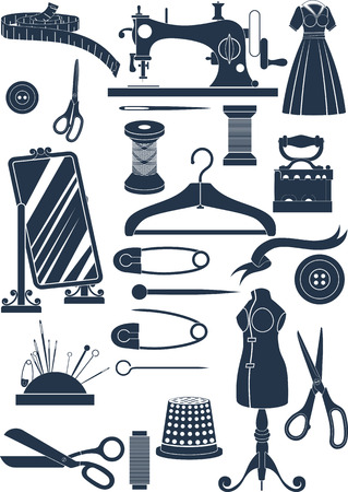 sewing machines: Big set of sewing accessories. Simple shapes to cut or icons