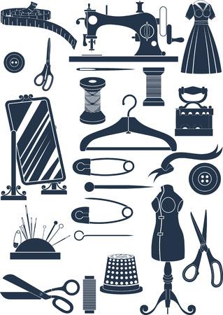 Grand ensemble d'accessoires de couture. Les formes simples de réduire ou d'icônes