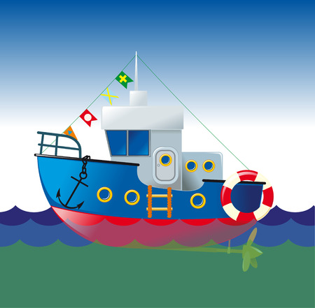 dinghy: comic drawing of a ship sailing on the waves with raised flags