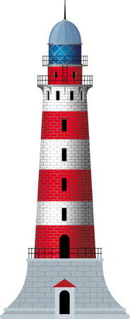 standing alone striped, red and white classic lighthouse Vector