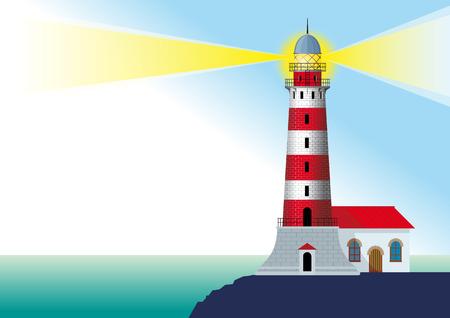 바다에 의해 바위에 서있는 빛나는 줄무늬 등대