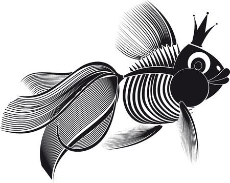 欲望: 彼の頭に冠を持つスケルトン妖精金魚。魚は、欲望を満たすために十分によい