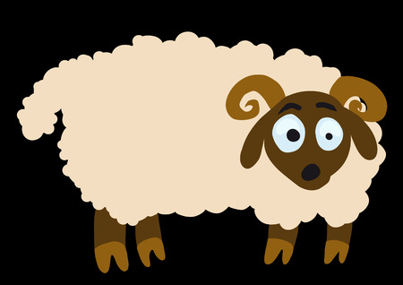 baa: Surprised lamb turning its face to the viewer stands on a black background Illustration