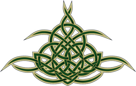 celtic culture: Elegant Celtic decorative pattern of woven yellow green lines isolated on white