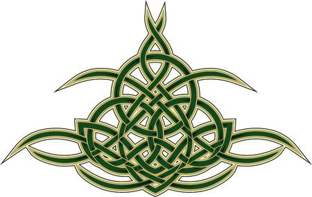 Elegant Keltische decoratief patroon van geweven geel groene lijnen op wit wordt geïsoleerd