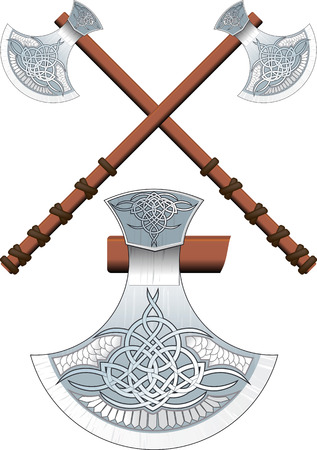ax: Two crossed ornate Celtic ax on a long handle Illustration