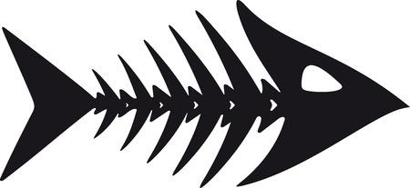 흰색 배경에 검은 색 물고기 골격의 기본, 거친 이미지 일러스트