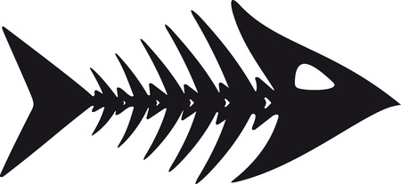 primitive, rough image of fish skeleton in black on a white background Vectores