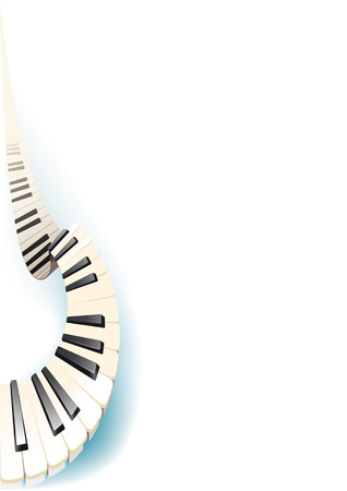 piano roll: gracefully curved piano keys arranged vertically with shadow on white background
