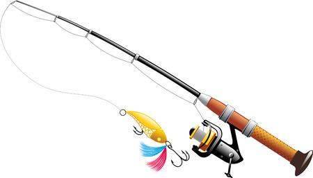 Spinning con il cucchiaio e la linea di pesca ampliata isolato su sfondo bianco Vettoriali