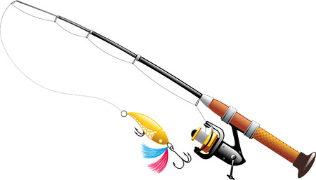 spinning reel: Spinning with spoon and expanded fishing line isolated on white background Illustration