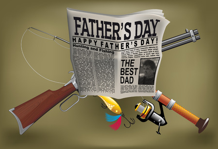 Fathers Day card with a man hobby, newspaper, gun, and spinning Vector