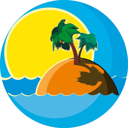 Tropical island with two palm trees in the sea against the setting sun Vector