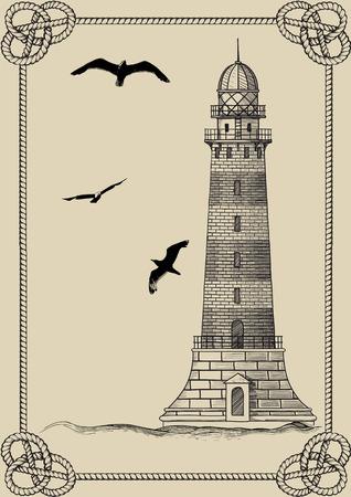 ベージュの背景の上ロープのフレームに古い灯台の定在波