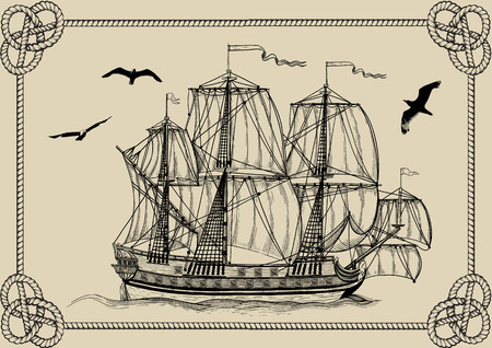 galleon: Old sailing warship in frame of rope on a beige background