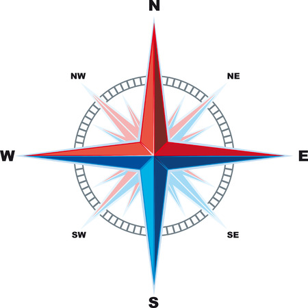 dial compass: Classical Compass Windrose isolated on a white background is. Indicating the cardinal
