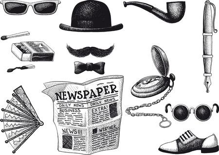 newspaper cartoons: set of retro hipster